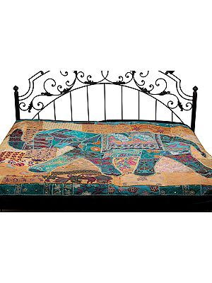 Gujarati Bedcover with Applique Elephant and All-Over Embroidery with Sequins Work
