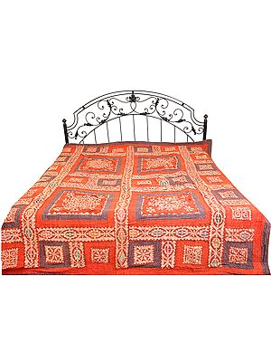 Patchwork Stone-washed Bedspread from Gujarat with Flowers and Kantha Stitch