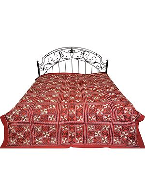 Hand-Embroidered Bedspread from Kutch with Geometrical Designs