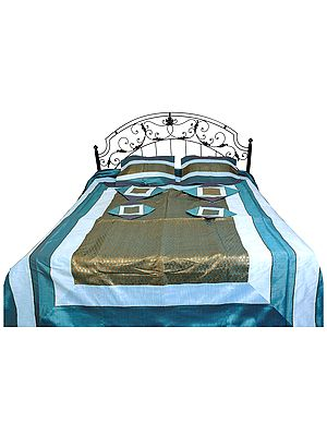 Seven-Piece Bedspread from Banaras with Brocade Weave