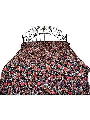 Bedcover from Jodhpur with Printed Sparrows and Kantha Stitch All-Over