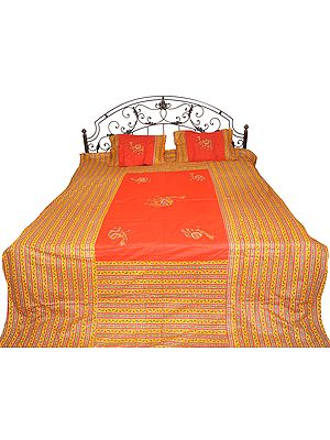 Printed Bedspread from Gujarat with Applique Embroidered Camels