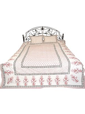 Bright-White Bedspread from Jaipur with Printed Bootis and Flowers