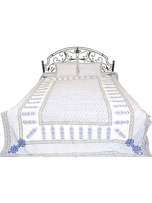 Bright-White Floral Print Bedsheet from Jaipur