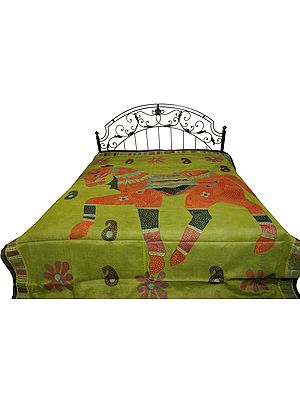 Bedspread from Jodhpur with Applique Horse and Kantha Hand-Embroidery