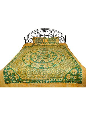 Batik-Dyed Bedsheet from Pilkhuwa with Printed Mandala of Elephants