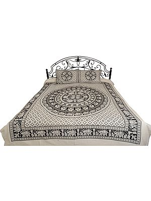 Bedsheet from Pilkhuwa with Printed Elephant Mandala