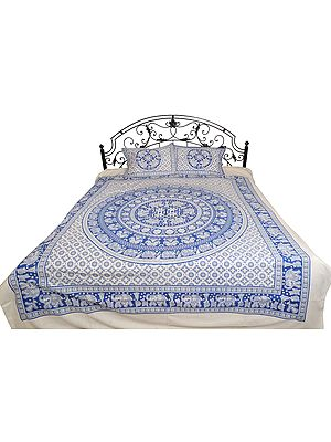 Bedsheet from Pilkhuwa with Printed Elephant Mandala