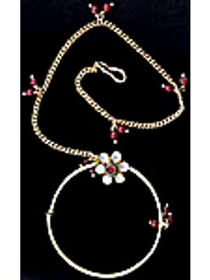Kundan Bridal Nath with Faux Ruby (Nose Chain)