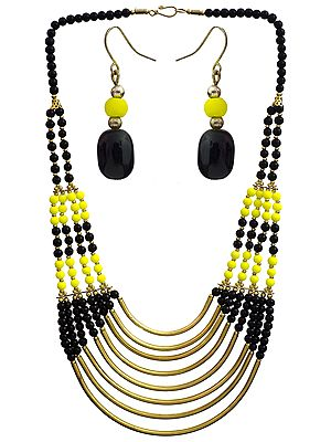 Eight Strand Beaded Necklace with Earrings Set