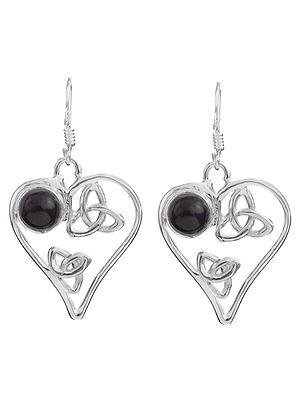 Heart-Shape Earrings with Gems