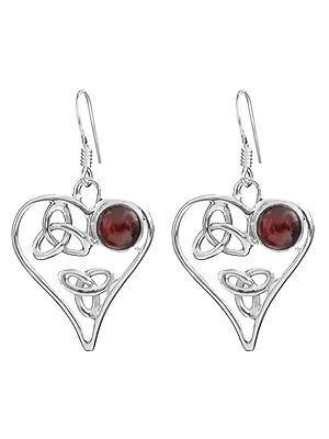 Heart-Shape Earrings with Gems