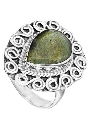Faceted Gemstone Spiral Ring