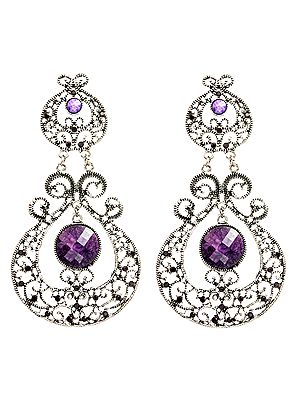 Paisleys Dangle Earrings with Faux Stones