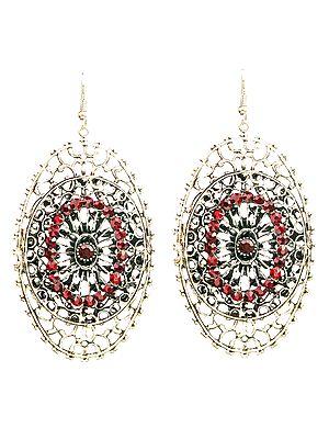 Twin-Oval Earrings with Cut Glass