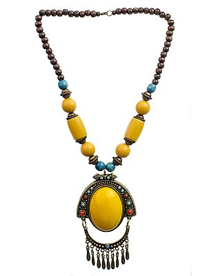 Beaded Necklace with Dangles