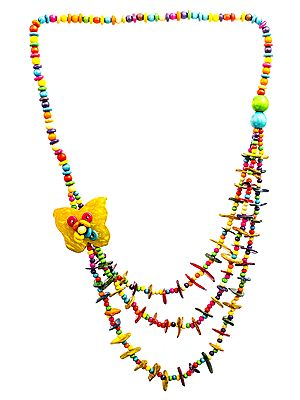 Multicolor Butterfly Three-Strand Long Necklace