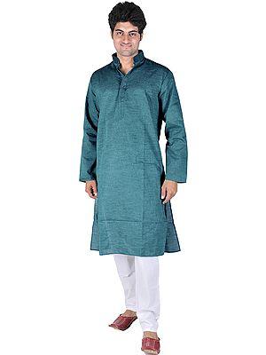 Plain Khadi Kurta with White Pajama Set