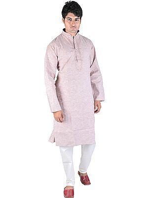 Kurta Pajama Set with Embroidery on Neck and Woven Stripes