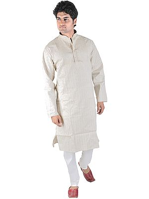 Kurta Pajama with Embroidery on Neck and Woven Stripes