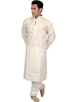 Khadi Kurta Pajama with Wide Woven Stripes and Embroidery on Neck