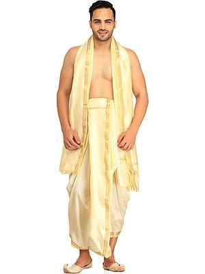 Dhoti and Angavastram set with Golden Woven Paisley on Border
