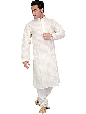 Kurta Pajama with Embroidery on Neck and Checks Woven in Self