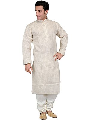 Khadi Kurta Pajama with Thread Embroidery on Neck and Woven Stripes