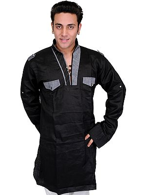 Designer Men's Kurta with Front Pockets