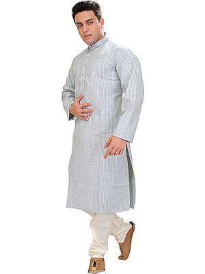 Kurta Pajama with Thread Embroidery on Neck and Woven Stripes