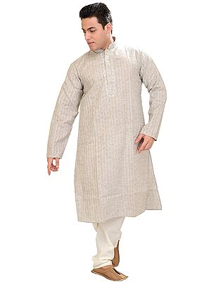 Kurta Pajama Set with Woven Checks and Embroidery on Neck