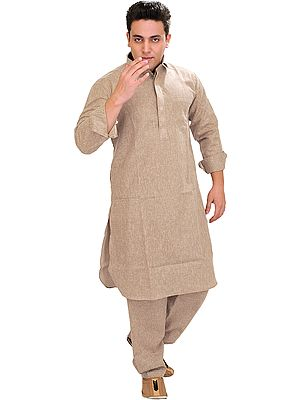 Plain Pathani Kurta Salwar with Thread Embroidery on Neck