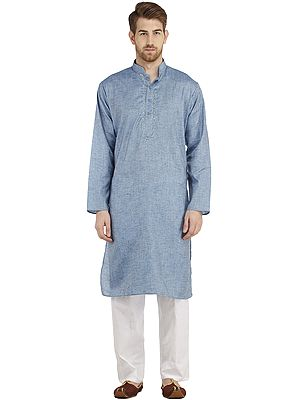 Plain Khadi Kurta Pajama with Embroidery on Neck