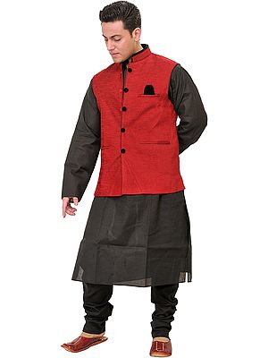 Three Piece Wedding Kurta Pajama Set with Poly-Velvet Jacket