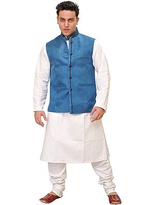 Three Piece White Kurta Pajama Set with Poly-Jute Waistcoat