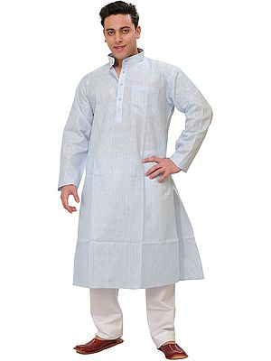 Kurta Pajama with All-Over Woven Stripes