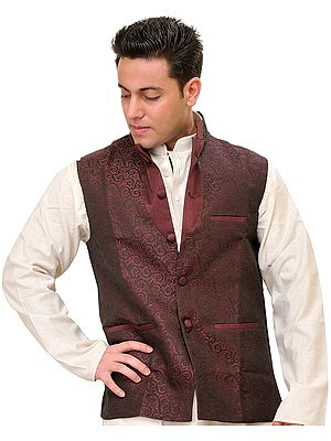 Jacquard-Woven Banarasi Waistcoat with Floral Weave in Self