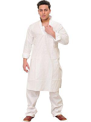 Plain Kurta Pajama with Stylish Collar and Front Pocket