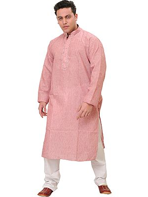 Plain Khadi Kurta Pajama with Thread Embroidery on Neck