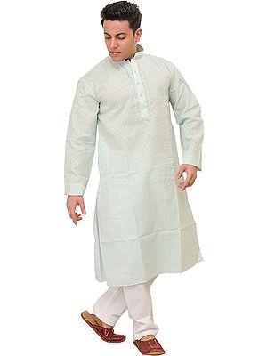 Khadi Kurta Pajama with Woven Checks and Thread Embroidery on Neck