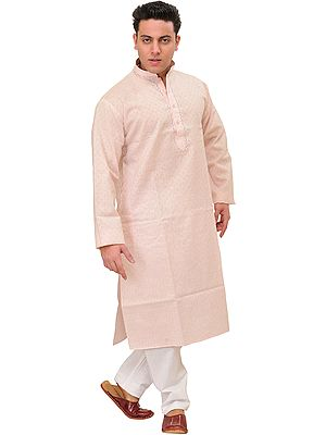 Khadi Kurta Pajama with Woven Checks and Thread Embroidery on Neck