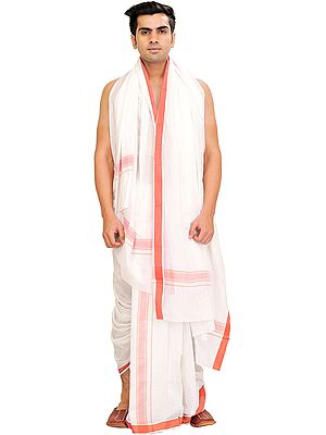 White Dhoti and Angavastram Set with Woven Border