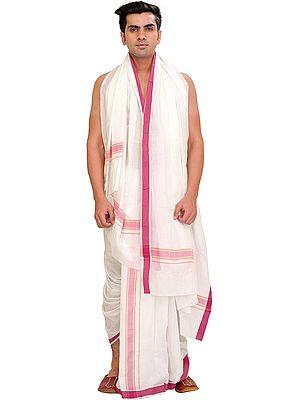 White Dhoti and Angavastram Set with Woven Border