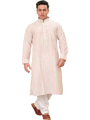 Casual Kurta Pajama Set with Woven Stripes All-Over