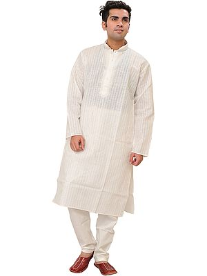Casual Kurta Pajama Set with Embroidery on Neck and Self-Weave