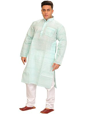 Casual Summer Kurta Pajama Set with Woven Checks