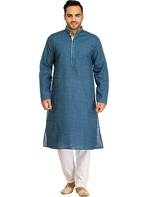 Kurta Pajama Set with Printed Small Bootis and Piping