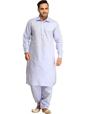 Pastel Plain Pathani Kurta Shalwar Set with Front Pocket