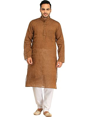 Casual Kurta Pajama Set with Woven Stripes
