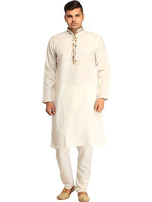 Plain Kurta Pajama Set with Thread-Stripes and Printed Button Palette